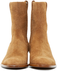 ... Saint Laurent Tan Western Wyatt Boots d1ea39b3a