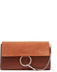 Faye leather and suede clutch tan medium 847001
