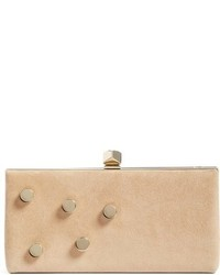 Jimmy Choo Jewelled Collection Celeste Buttons Suede Clutch Brown