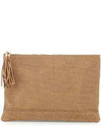 Neiman Marcus Tassel Detailed Perforated Faux Suede Zip Clutch Camel