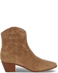Saint Laurent Rock Suede Western Ankle Boots