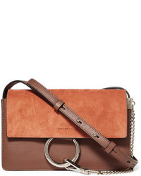 Chloé Faye Small Leather And Suede Shoulder Bag Tan