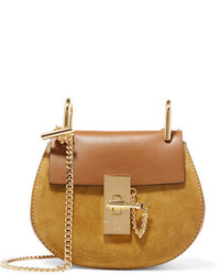 Chloé Drew Nano Leather And Suede Shoulder Bag Brown