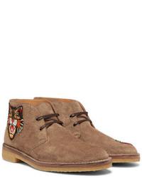 Gucci Appliqud Suede Desert Boots