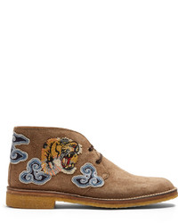 Gucci New Moreau Embroidered Suede Desert Boots
