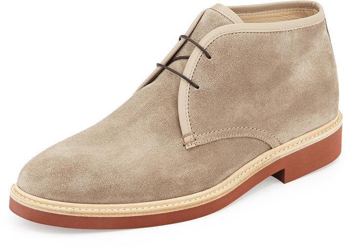 c9ec1b9bb1868 Ermenegildo Zegna Suede Chukka Boot Light Brown, $595 | Neiman ...