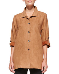 Modern faux suede button front shirt petite medium 320245