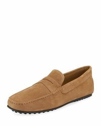 Tod's City Gommini Suede Penny Loafer Tan