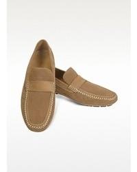 Moreschi Portofino Tan Perforated Suede Driver Shoes