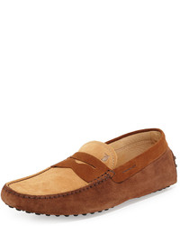 Tod's Two Tone Suede Penny Driver Tanlight Brown