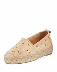 Rag & Bone Adria Embroidered Slip On Espadrille Flat Camel