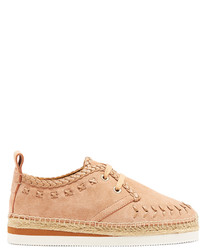 See by Chloe See By Chlo Leather Embroidered Suede Espadrilles