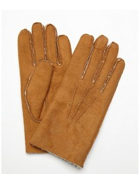 All Gloves Chestnut Suede Hand Sewn Shearling Lined Gloves