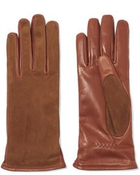 Lanvin Suede And Leather Gloves Camel