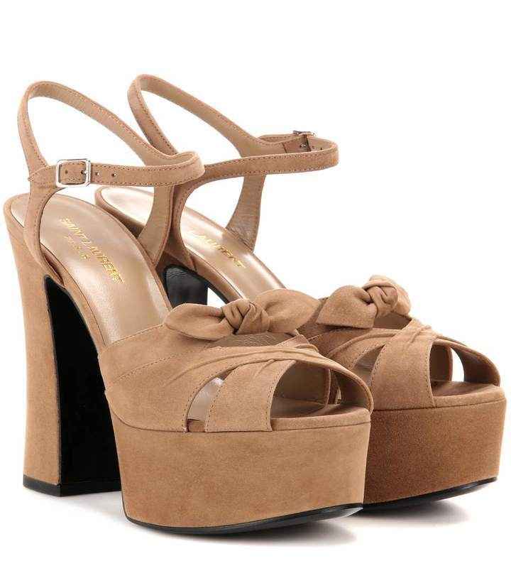 7e516280c7f ... Heeled Sandals Saint Laurent Candy 80 Suede Platform Sandals ...
