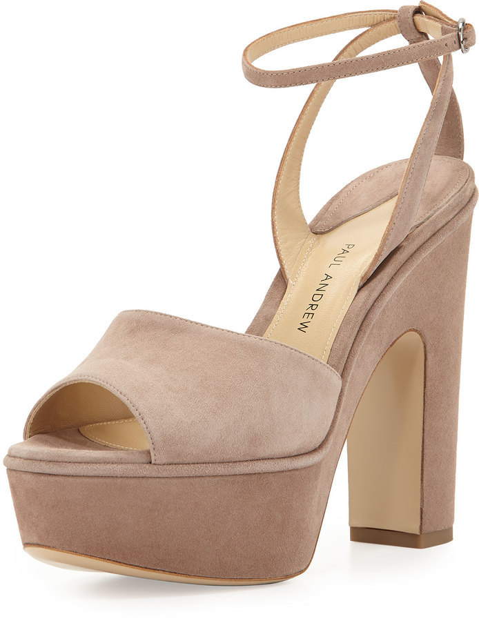 Paul Andrew Suede Chunky Heel Platform Sandal Taupe | Where to buy ...