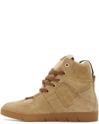 Loewe Camel Suede High Top Sneakers