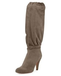 Chloé Chloe Suede 90mm Knee Boot Ship Gray