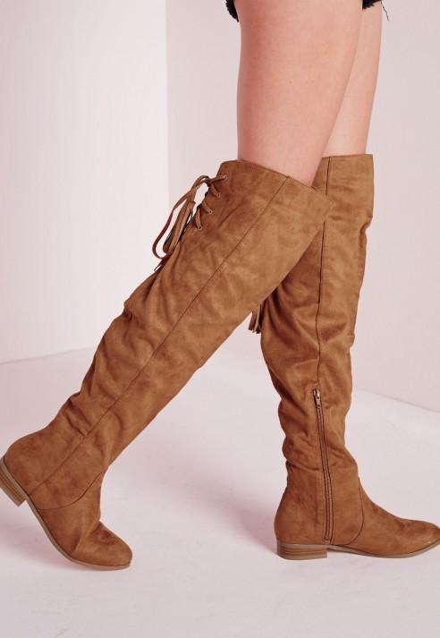 ... Missguided Flat Knee High Tassel Back Boot Tan ... 7b1c48826220