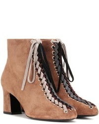 Roger Vivier Bootie Tressage Chunky 70 Lace Up Suede Ankle Boots