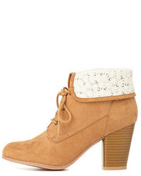 Charlotte Russe Crochet Cuffed Lace Up Booties