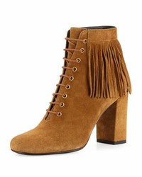 Fringed suede lace up boot tan medium 891912