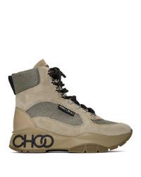 Jimmy Choo Tan Inka New Logo Lace Up Boots