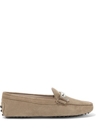 Tod's Gommino Embellished Suede Loafers Beige