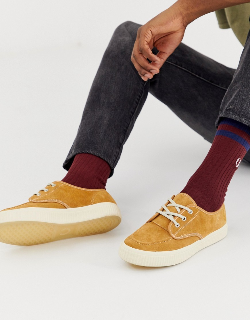 Fred Perry Ealing Suede Trainers In Tan