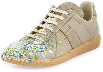 Splatter Replica Low Top Sneaker Khaki595 Paint Margiela Maison OmvNnw80