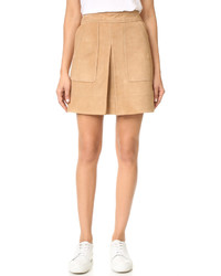 Vince Inverted Pleat Suede Miniskirt