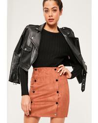 Missguided orange faux suede double popper detail mini skirt medium 1127484