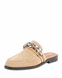 Givenchy Suede Flat Mule Loafer Beigecamel
