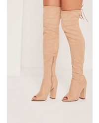 Missguided Peep Toe Block Heel Over The Knee Boots Nude