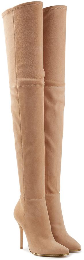 5ea42bc756d1c ... Balmain Suede Thigh High Boots ...