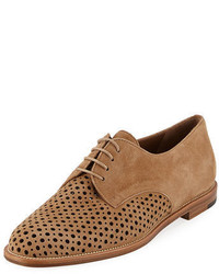 Manolo Blahnik Aferi Perforated Suede Oxford