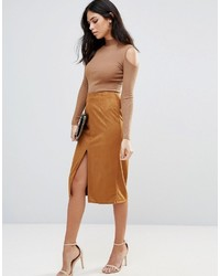 Glamorous Faux Suede Pencil Skirt