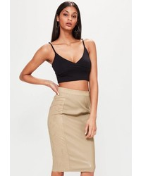 Tan faux leather suede panelled midi skirt medium 3735864