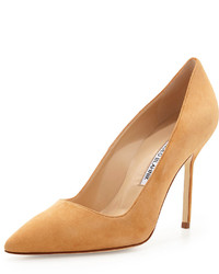 Manolo Blahnik Bb Suede 105mm Pump Beige