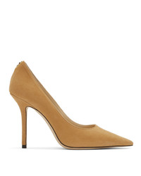 Jimmy Choo Tan Suede Love 100 Heels