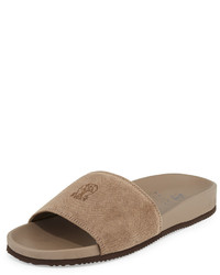 Brunello Cucinelli Perforated Suede Slide Sandal Beige