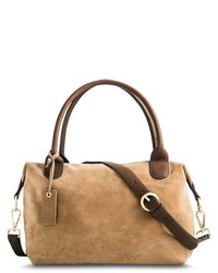 Merona Suede Crossbody Satchel Handbag With Removeable Strap Tan Tm