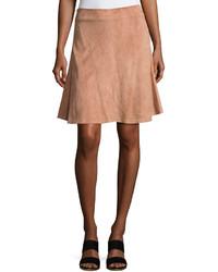 Brunello Cucinelli Suede Plume A Line Skirt Medium Beige