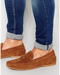 Asos Brand Tassel Loafers In Suede
