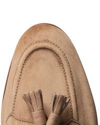 Edward Green Portland Leather Trimmed Suede Tasselled Loafers