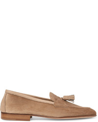 Edward Green Portland Leather Trimmed Suede Tasselled Loafers