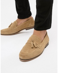 ASOS DESIGN Tassel Loafer In Stone Suede With Fringe Detail