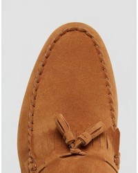 f3f949f2c9b ... Asos Tassel Loafers In Tan Faux Suede With Fringe ...