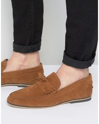 Asos Tassel Loafers In Tan Faux Suede With Fringe