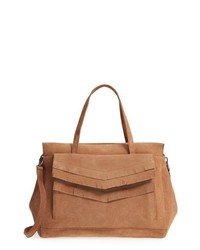 TEN79LA Suede Satchel With Chevron Detail